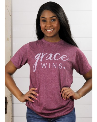 S/S Grace Wins Tee in Maroon by Crazy Cool Threads