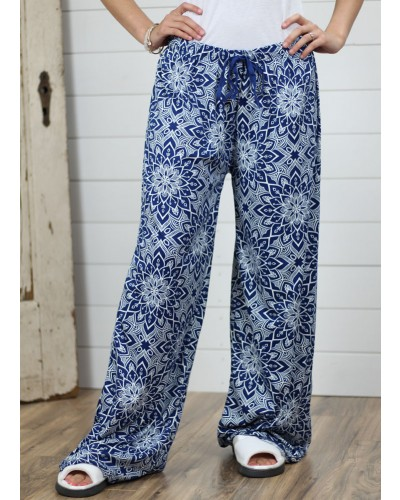 Loung Pant in Blue Floral by DM Merchandising
