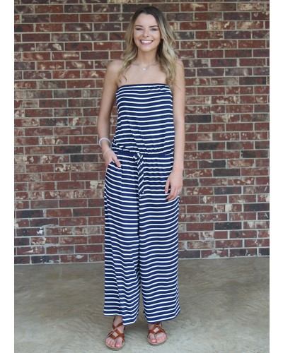Striped Midi Length Romper in Navy by Hyped Unicorn