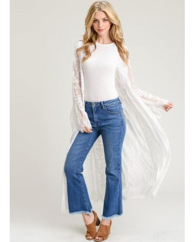 Lace Long Body Cardigan in Off White by Jodifl