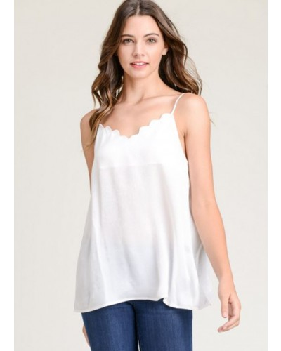 Scalloped Tank Top in Ivory