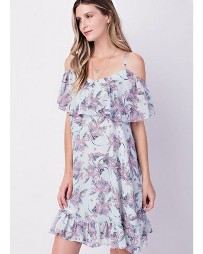 Cold Shoulder Ruffled Dress in Blue Mix