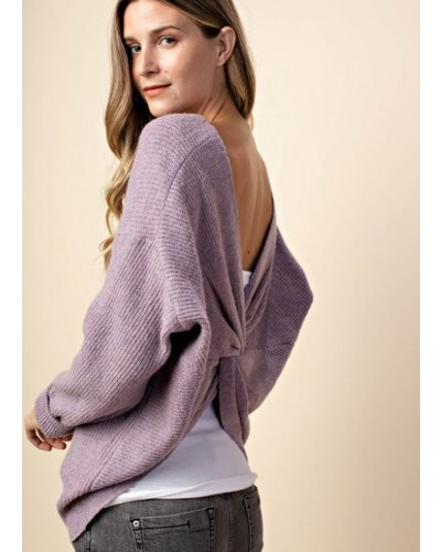 Back Twist Detail Sweater in Orchid