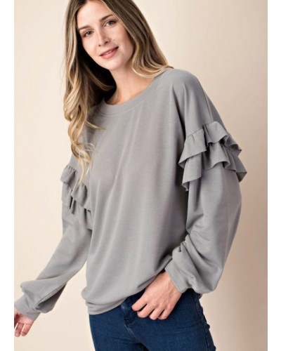 Ruffle Detailed Top in Grey
