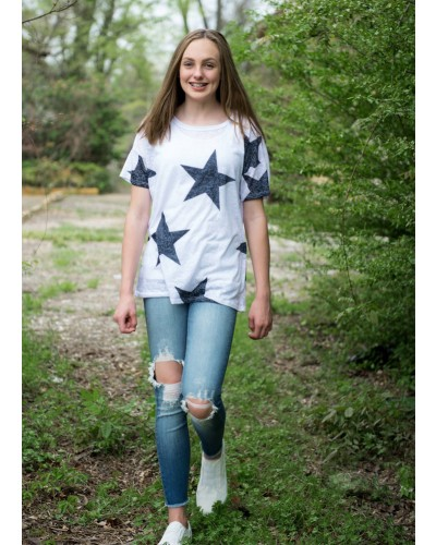 Star Printed Top in Off White
