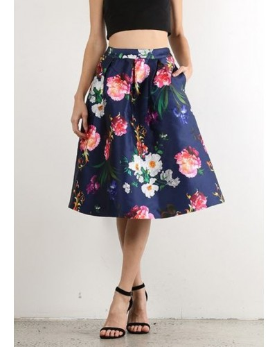 Summer Bouquet Circle Skirt in Navy