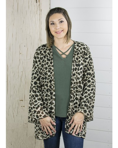 Mesh L/S Mid Length Kimono in Sheer Leopard by Couture Tee Company