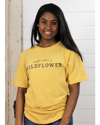 S/S Maybe She's A Wildflower Tee in Mustard by Ady Belle