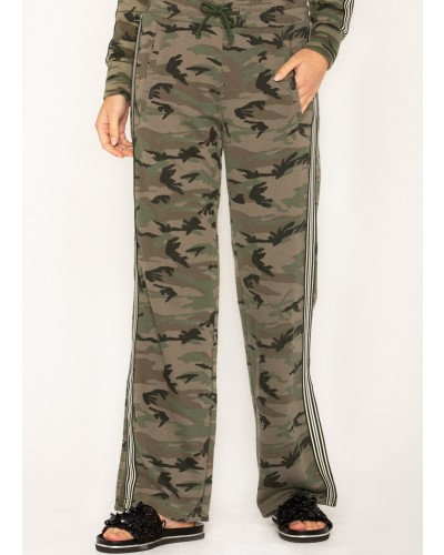 Side Stripe Trim Camo Print Pants in Camo Green by Miss Me