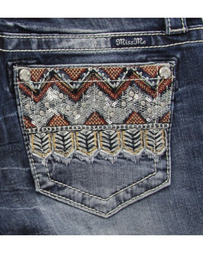Tribal Pocket Slim Boot Jean in Medium Blue by Miss Me
