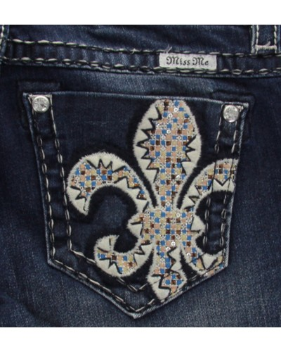 Fleur De Lis Mid Rise Boot Cut Jean in Dark Wash by Miss Me