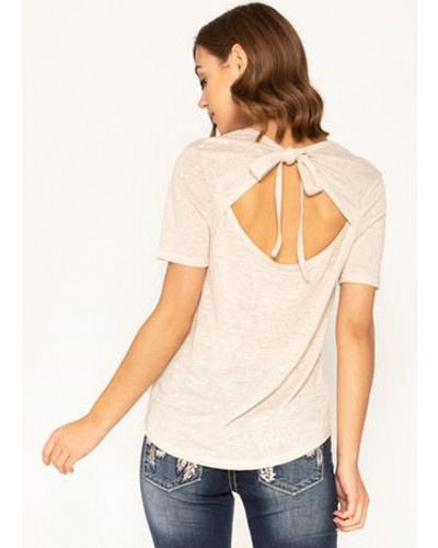 S/S Tie Back Top in Stone Beige by Miss Me