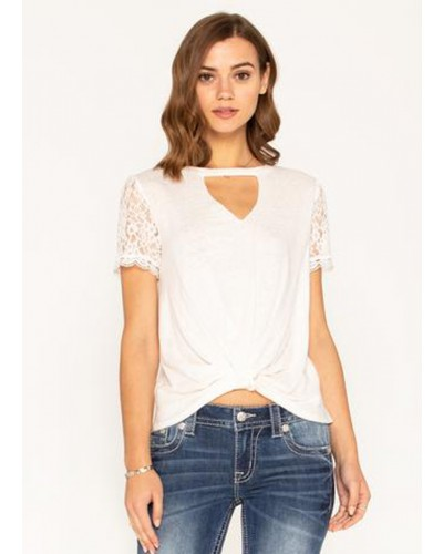 Twist Front Keyhole Neck Top in Off White by Miss Me
