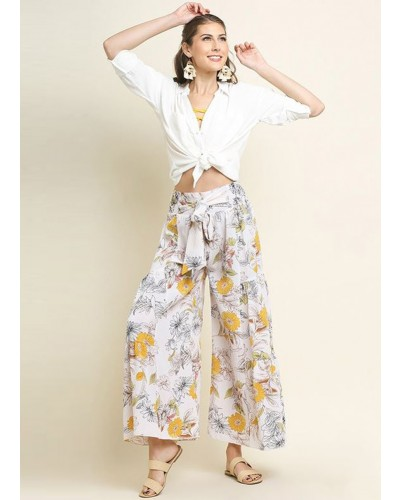 Floral Print High Waisted Wide Leg Pant in White Mix by Umgee