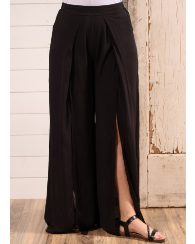 High Wasted Double Slit Pants in Black by Entro
