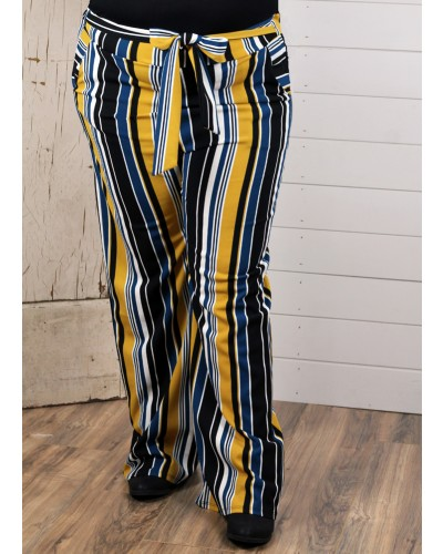Plus Tie Front Pants in Black/Mustard Stripe by Spin USA
