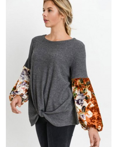 Waffle Floral Sleeve Knot Top in Charcoal by Jodifl
