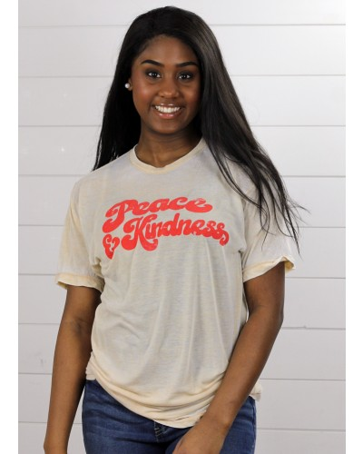 S/S Peace & Kindness Tee in Acid Wash Tan by Crazy Cool Threads