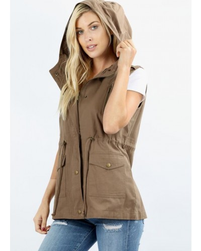 Drawstring Waist Military Hoodie Vest in Mocha