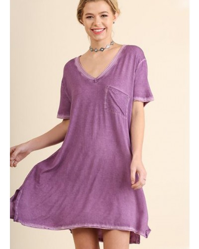 Washed V Neck Tee Dress with Chest Pocket in Purple by Umgee
