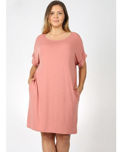 Plus Rolled S/S Round Neck Dress in Ash Rose