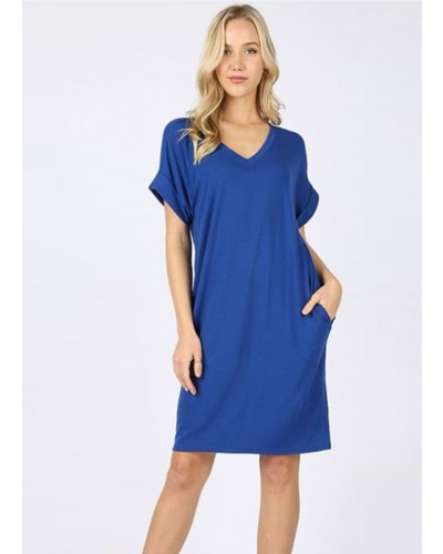 Rolled S/S V Neck Dress in Mid Navy