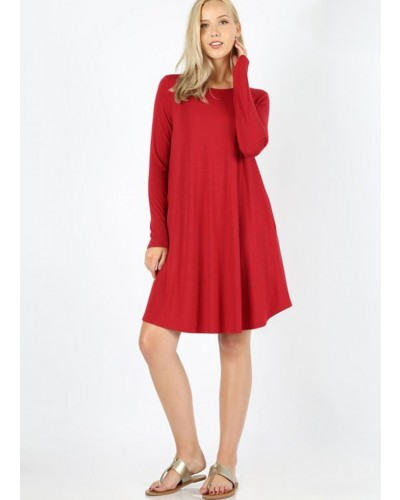 L/S A Line Dress with Pockets in Dark Red