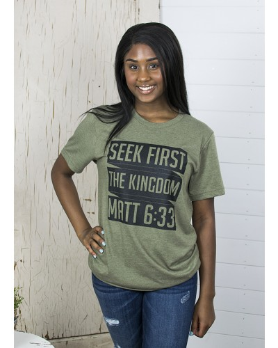 Seek First Tee in Olive by Truth Ink