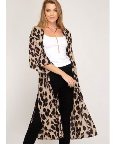 Half Sleeve Leopard Print Cover Up in Taupe