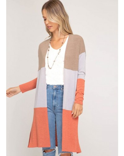 L/S Color Blocked Cardigan in Mocha/Co