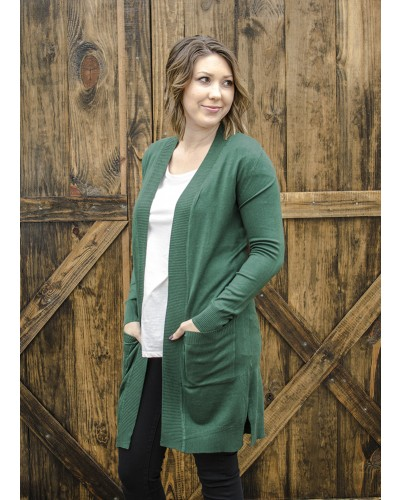 Long Open Cardigan with Pockets in Olive