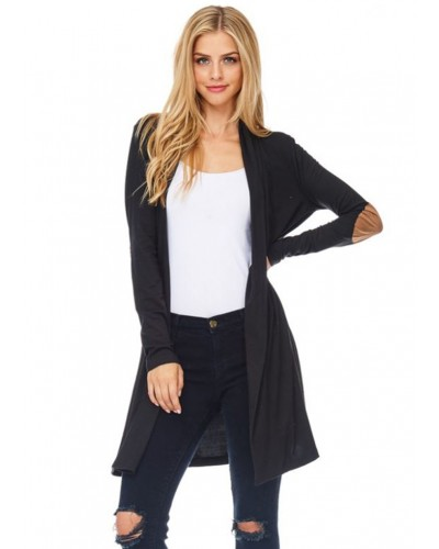L/S Elbow Patch Cardigan in Black