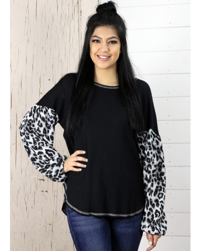 Animal Print Ballon Sleeve Top in Black by Twenty Second