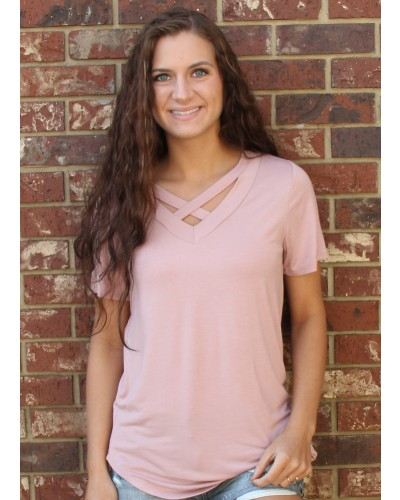 S/S Criss Crossed Neck Top in Dusty Pink