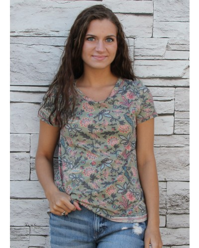 Mineral Top Print Back Lace in Olv Blush by Boho Jane