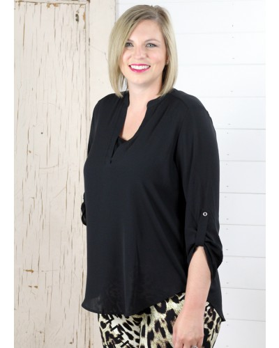 Deep Open V Neck Woven Top in Black by Lush