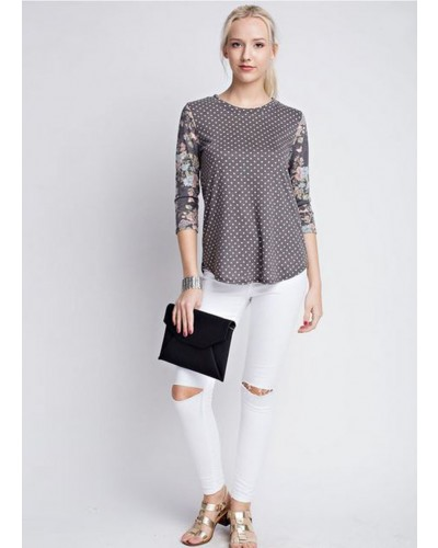 Polka Dot Top with Floral Sleeve in Charcoal