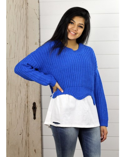 Sideny Scalloped Crop Sweater in Royal Blue by Sadie & Sage