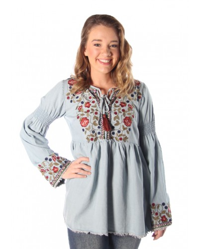 Denim Flower Embroidered Long Sleeve Top in Denim Blue by Miss Me