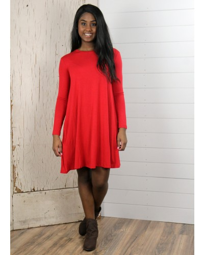 L/S Piko Knitted Swing Dress w/ Pockets in American Red by Tree People