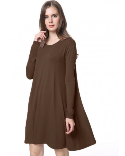 Piko L/S Knitted Swing Dress with Pockets in Dark Brown by Tree People