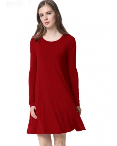 Piko L/S Knitted Swing Dress w/Pockets in Burgundy by Tree People