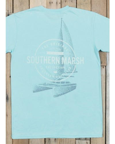 Seawash Tee Sail Away in Washed Blue by Southern Marsh