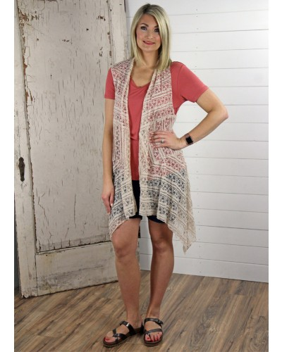 Lace Vest in Taupe by Honeyme