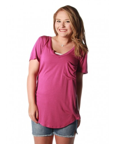 Phoenix Pocket Tee in Magenta by Another Love