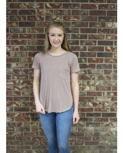 Sam Burnout Crew Neck Tee in Light Mocha by Another Love