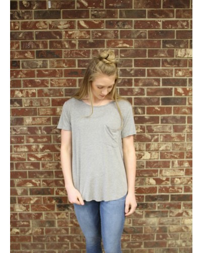 S/S Sam Crew Neck Tee in Heather Grey by Another Love