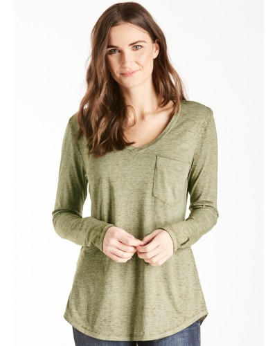 L/S V Neck Molly Burnout Pocket Tee in Olive Drab by Another Love