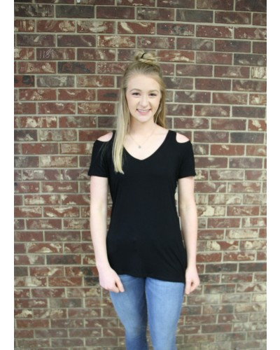 Ania Cut Out Shoulder Tee in Black by Another Love