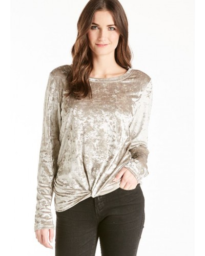 L/S Jackson Knot Front Velvet Top in Champagne by Another Love